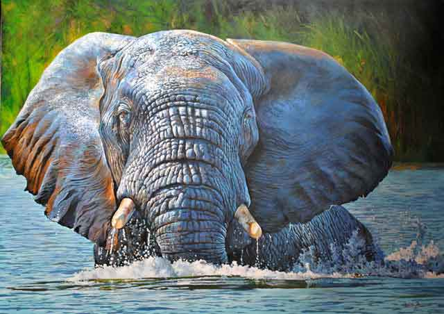 Wildlife-Art-Dawie's-River-Elephant-Wildmoz.com